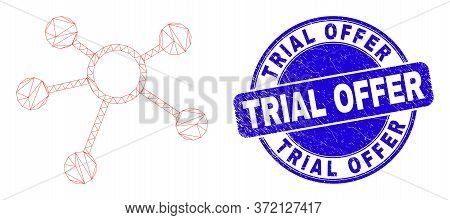 Web Mesh Links Pictogram And Trial Offer Stamp. Blue Vector Rounded Grunge Stamp With Trial Offer Ph