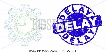 Web Mesh Clock Settings Gear Pictogram And Delay Seal Stamp. Blue Vector Round Textured Seal Stamp W
