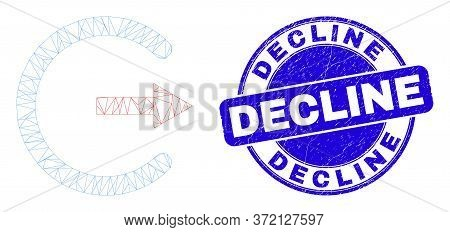 Web Carcass Log Out Icon And Decline Seal Stamp. Blue Vector Rounded Distress Seal Stamp With Declin