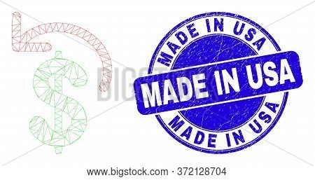Web Carcass Dollar Refund Icon And Made In Usa Stamp. Blue Vector Round Distress Seal Stamp With Mad