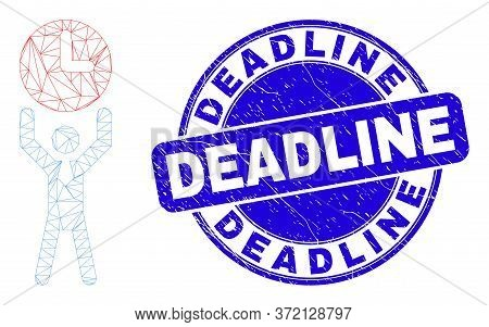 Web Mesh Time Manager Pictogram And Deadline Seal Stamp. Blue Vector Rounded Textured Seal Stamp Wit
