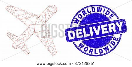 Web Mesh Airplane Pictogram And Worldwide Delivery Stamp. Blue Vector Rounded Grunge Seal With World