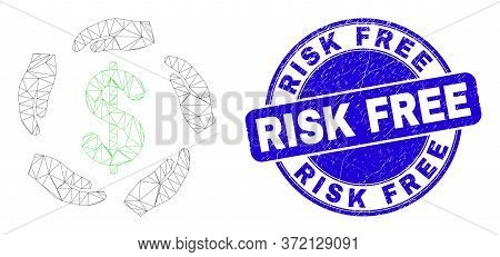 Web Carcass Dollar Care Hands Pictogram And Risk Free Stamp. Blue Vector Rounded Scratched Seal Stam