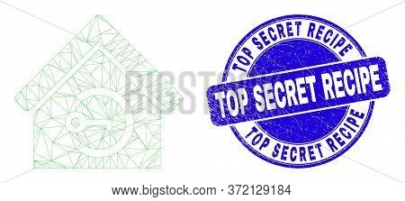 Web Carcass Home Keyhole Icon And Top Secret Recipe Seal. Blue Vector Rounded Grunge Seal Stamp With