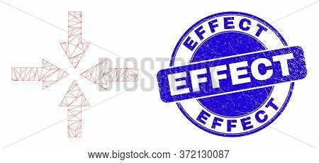 Web Carcass Collapse Arrows Pictogram And Effect Seal. Blue Vector Rounded Textured Seal Stamp With