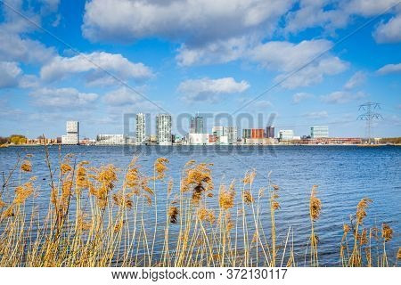 Cityscape Of Almere, Flevoland, The Netherlands. View From The Parking Lot Of The International Hort