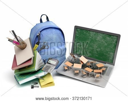 Online Learning Concept Blue Backpack With School Supplies And Laptop 3d Render On White