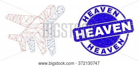 Web Carcass Aviation Icon And Heaven Seal. Blue Vector Round Textured Seal Stamp With Heaven Caption