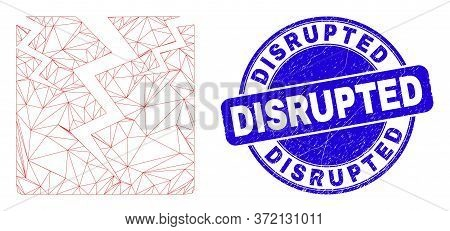 Web Mesh Crack Icon And Disrupted Seal. Blue Vector Rounded Grunge Watermark With Disrupted Message.