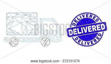 Web Mesh Lorry Icon And Delivered Watermark. Blue Vector Round Distress Seal Stamp With Delivered Me