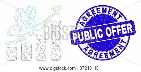 Web Carcass People Growing Chart Icon And Agreement Public Offer Seal Stamp. Blue Vector Round Grung
