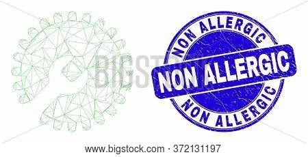 Web Mesh Settings Gear Pictogram And Non Allergic Seal Stamp. Blue Vector Round Scratched Seal Stamp