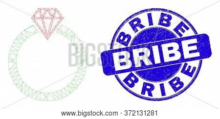 Web Mesh Jewelry Ring Pictogram And Bribe Seal Stamp. Blue Vector Rounded Scratched Seal With Bribe
