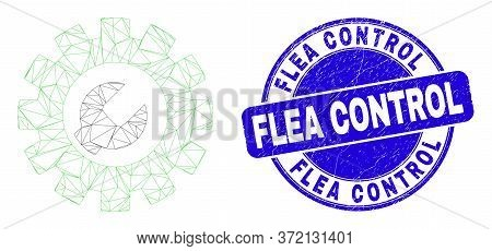 Web Carcass Setup Tools Icon And Flea Control Stamp. Blue Vector Round Grunge Stamp With Flea Contro