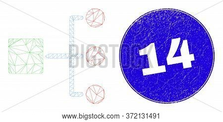 Web Mesh Hierarchy Icon And 14 Stamp. Blue Vector Round Grunge Seal Stamp With 14 Title. Abstract Fr