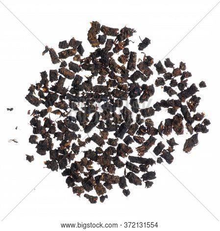 Granular Tea Pile On White Background Isolation, Top View