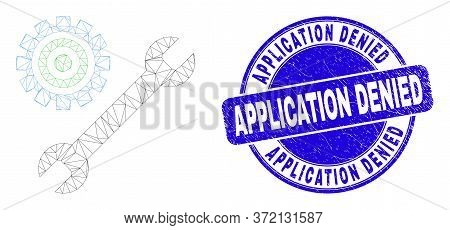 Web Mesh Repair Tools Icon And Application Denied Seal. Blue Vector Round Distress Watermark With Ap