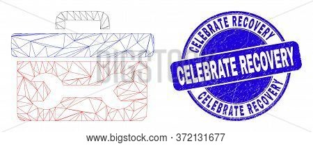 Web Mesh Wrench Toolbox Pictogram And Celebrate Recovery Stamp. Blue Vector Round Distress Stamp Wit