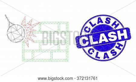 Web Mesh Crush The Wall Icon And Clash Stamp. Blue Vector Rounded Scratched Seal With Clash Title. A