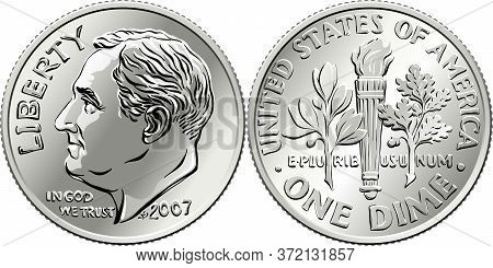 Roosevelt Dime, United States One Dime Or 10-cent Silver Coin, President Franklin Roosevelt On Obver