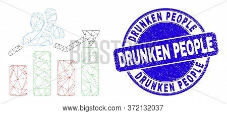 Web Mesh Visitors Bar Chart Icon And Drunken People Seal. Blue Vector Rounded Scratched Seal Stamp W