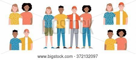 Group Of Smiling Boys And Girls Are Standing Together And Hugging. Friendship Day. Happy Students Is