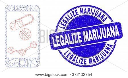 Web Carcass Mobile Pharmacy Chart Icon And Legalize Marijuana Seal. Blue Vector Rounded Distress Sea