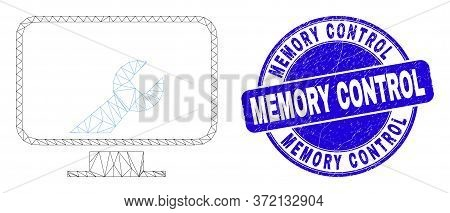 Web Carcass Computer Settings Wrench Icon And Memory Control Seal Stamp. Blue Vector Rounded Texture