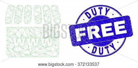 Web Mesh Webshop Icon And Duty Free Seal Stamp. Blue Vector Round Distress Seal Stamp With Duty Free