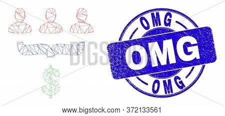 Web Carcass Customer Sales Funnel Icon And Omg Seal. Blue Vector Rounded Distress Seal Stamp With Om