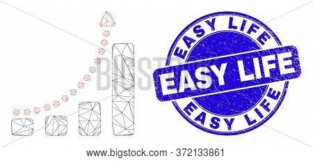 Web Mesh Fast Growing Trend Pictogram And Easy Life Seal. Blue Vector Round Distress Stamp With Easy