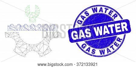 Web Carcass Plumbery Service Icon And Gas Water Seal Stamp. Blue Vector Round Textured Seal Stamp Wi