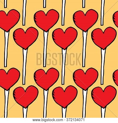 Texture Of Lollipops In The Shape Of A Heart On A Yellow Background. Cute Red Lollipops Repeating On