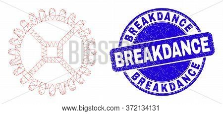 Web Mesh Clock Gear Pictogram And Breakdance Seal Stamp. Blue Vector Rounded Textured Stamp With Bre