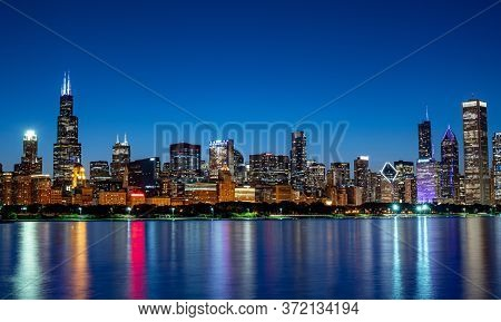 Amazing Chicago Skyline In The Evening - Chicago, Illinois - June 12, 2019