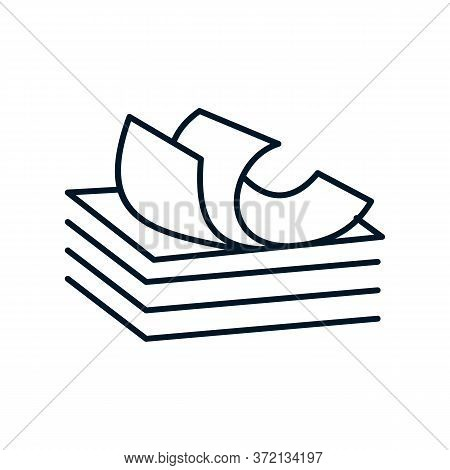 A Stack Of Paper Icon Vector. A Stack Of Paper Sign. Isolated Contour Symbol Illustration