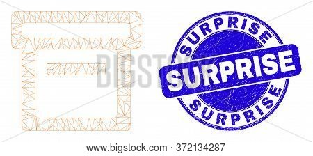 Web Carcass Box Icon And Surprise Seal Stamp. Blue Vector Rounded Textured Seal With Surprise Phrase