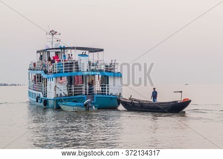Pasur, Bangladesh - November 13, 2016: M. V. Dinghy Ship Of The Bengal Tours Ltd. During Sundarbans