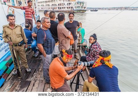 Pasur, Bangladesh - November 13, 2016: Tourists Traveling With The Bengal Tours Are Leaving Their Sh