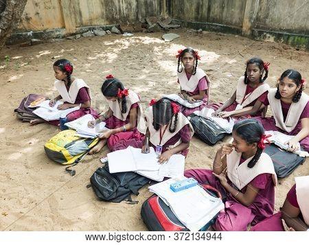 Puducherry, India - December Circa, 2018. Unidentified Group Children Girls Friends Classmates In Go
