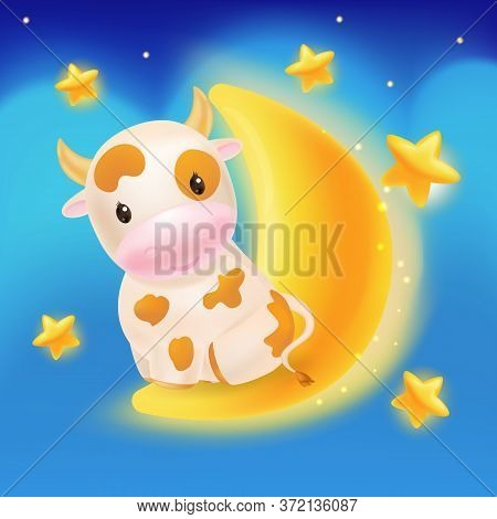 Cute Cow, Awesome Little Bull Sitting On A Moon. 2021 Chinese Symbol. Soft Pastel Colours. Cartoon S