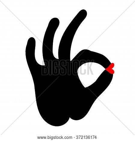 Gesture Ok Icon With Female Lips. Gesture Ok Icon, Commerce And Marketing, Best Choice Of Vector Gra