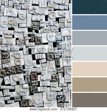 Trendy Color Matching Palette From Flat Lay, Top View On Vintage Grunge Metal Retro Background, With