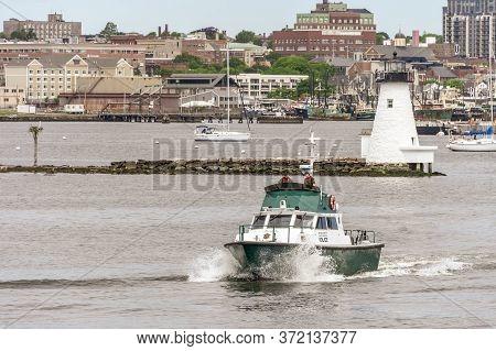 New Bedford, Massachusetts, Usa - June 17, 2020: Massachusetts Environmental Police Patrol Boat Cutt