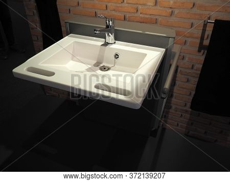 Modern Design Public Handicapped Batroom Sink For People With Disabilities In A Hospital Office