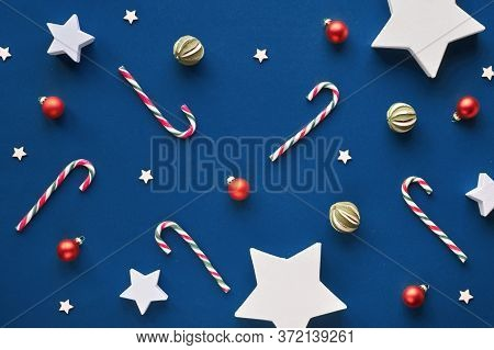 Geometric Xmas Background On Trendy Blue Paper. Trendy Geometric Christmas Flat Lay, Top View With C