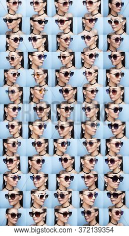 Photo Collage Of A Girl In Glasses. Collage Of Photos Of Young Women In Glasses On A Blue Background