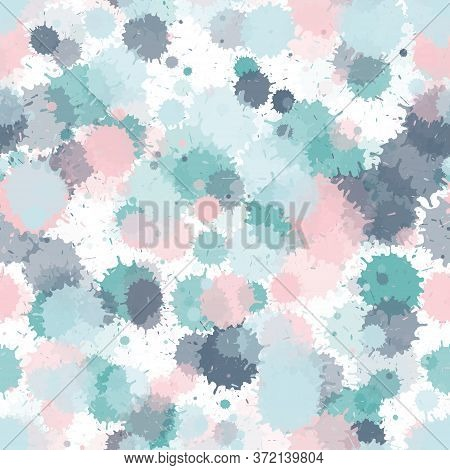 Watercolor Paint Transparent Stains Vector Seamless Wallpaper Pattern. Vintage Ink Splatter, Spray B