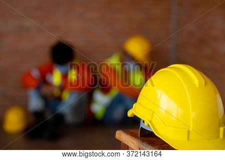 Engineer Feel Stressful Depressed Situation In Construction Site,unemployed Jobless People Crisis Wh