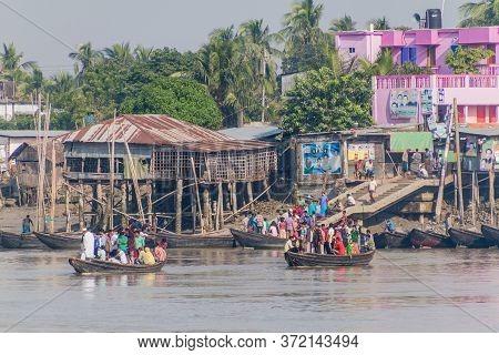 Khulna, Bangladesh - November 16, 2016: Ferries On Rupsa River In Khulna, Bangladesh